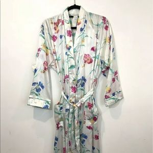 Christian Dior S Floral Satin Long Robe Loungewear